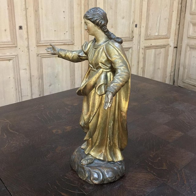 Giltwood 19th Century Giltwood Polychrome Statue of Madonna For Sale - Image 7 of 12