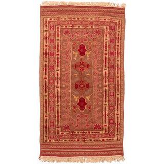 Persian Geometric Red Wool Kilim Rug-4′7″ × 8′3″ For Sale
