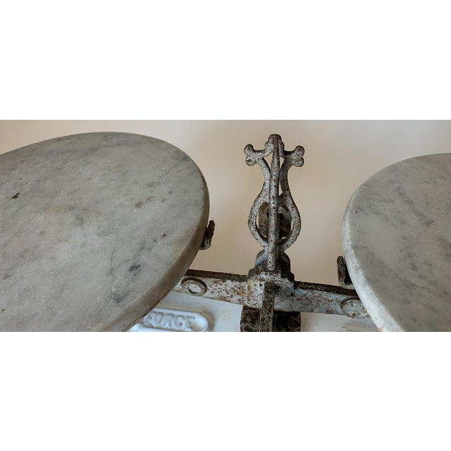Antique 1920s Iron and Marble Balance Scale For Sale - Image 9 of 10