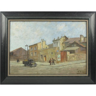 French Urban Street Scene Oil on Canvas Painting by Renzo Gori For Sale