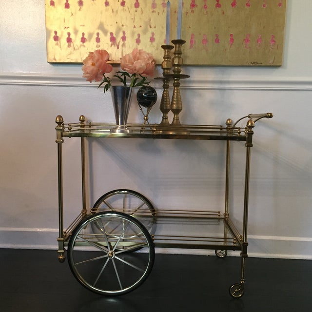 Vintage Hollywood Regency Bar Cart - Image 3 of 9