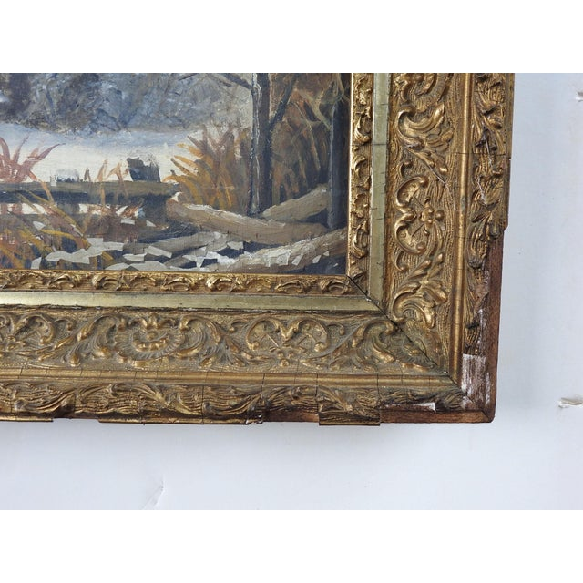 Antique Rustic Sunset Winter Scene Distressed Painting For Sale - Image 4 of 5