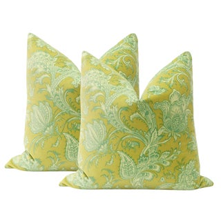 "22"" Jacobean Print Velvet Pillows - a Pair For Sale"