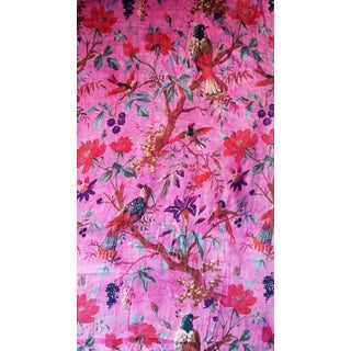Chinoiserie Cotton Velvet Vibrant Pink Fabric- 10 Yards For Sale