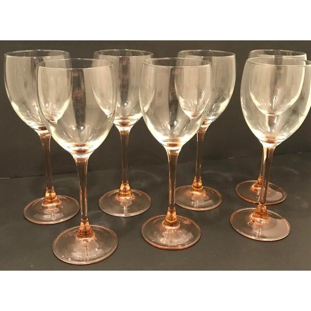 Vintage Luminar Pink Stem Wine Glasses. 2 Sets Available. Same Day Shipping.