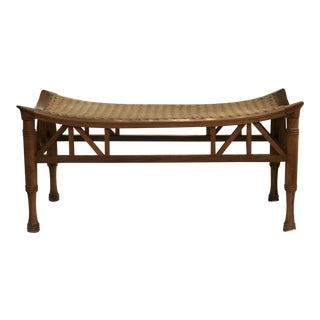 Aesthetic Movement Wingtip Bench in Mahogany With Herringbone String Seat For Sale