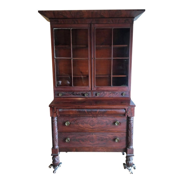 American Empire Secretary With Glass Door For Sale