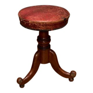 Regency Style Piano Stool With Leather Seat For Sale