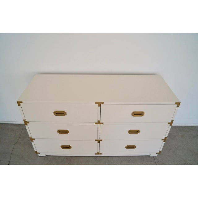 White 1960's Mid-Century Hollywood Regency Campaign Dresser For Sale - Image 8 of 13