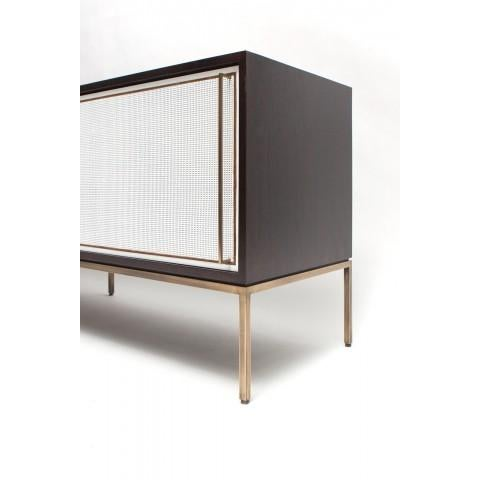 Contemporary Customizable re: 379 Ebonized Walnut and Painted Cane Credenza For Sale - Image 3 of 3