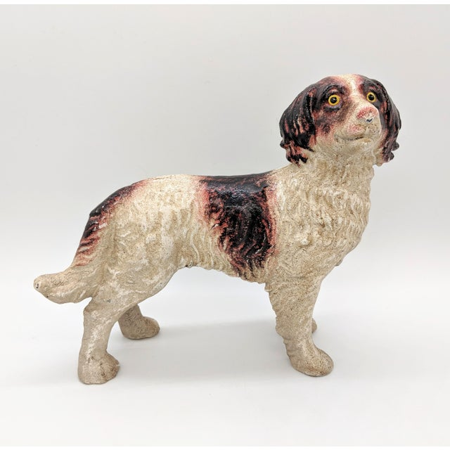 20th Century Figurative Cast Iron Red and White English Springer Spaniel Doorstop For Sale - Image 9 of 9