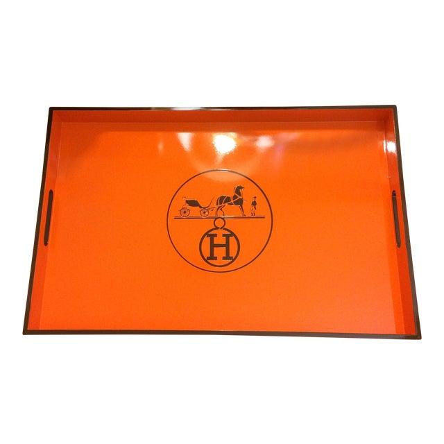 Vintage Hermes Inspired Orange & Brown Large Bar Tray - Image 1 of 5