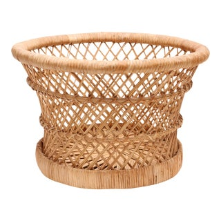 Vintage Boho Chic Bamboo and Wicker Planter Basket