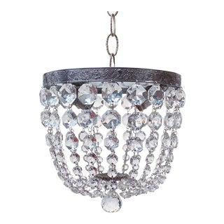 Silver Rim Crystal Basket Pendant Light For Sale