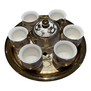 Jingdezhen Double Wall Dragon Gold-Gilded White Porcelain Tea Set With Tea Tray - 11 Piece Set For Sale