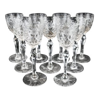Arts and Crafts Etched Cordial Glasses - Set of 9