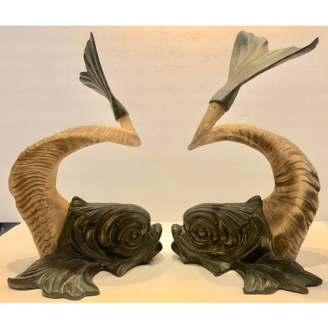 Baroque Brass and Faux Horn Fishes by Chapman/2 For Sale - Image 3 of 10