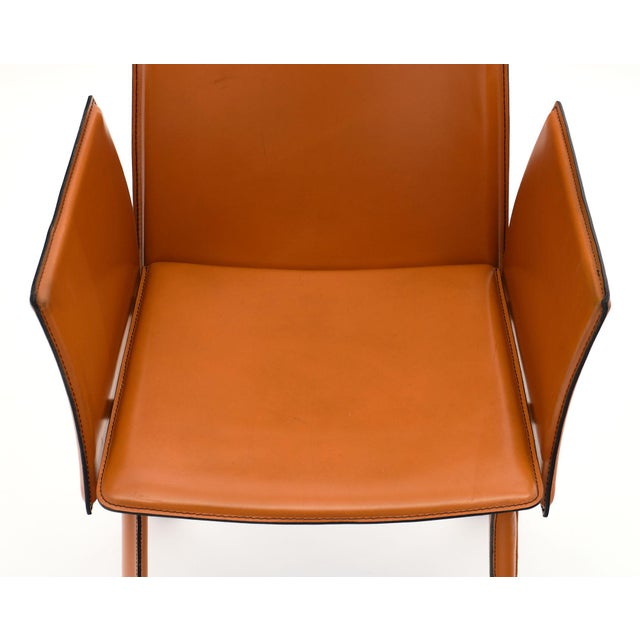 1970s Vintage Modernist Orange Leather Armchairs - a Pair For Sale - Image 5 of 10