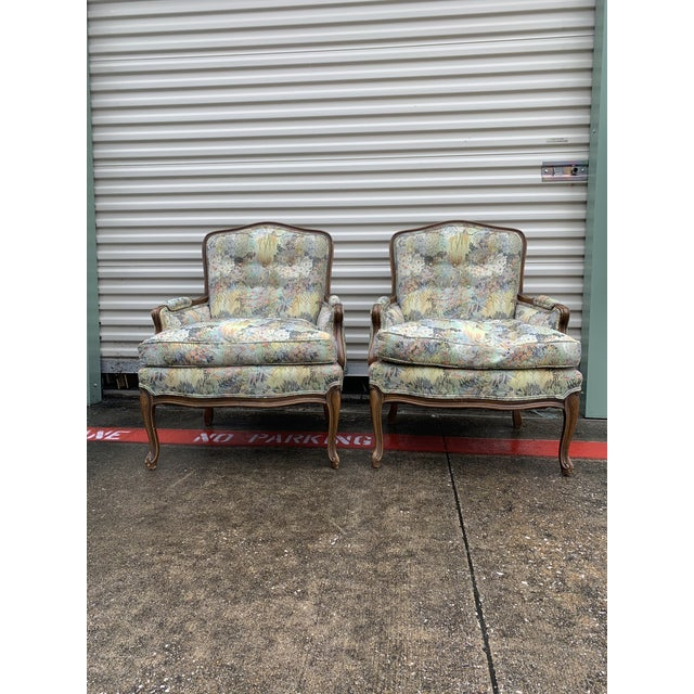 Antique Floral Wingback Chairs - a Pair For Sale In Dallas - Image 6 of 6