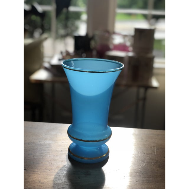Mid 19th Century 19th Century Blue Opaline Glass Vase With Gilded Trim For Sale - Image 5 of 8