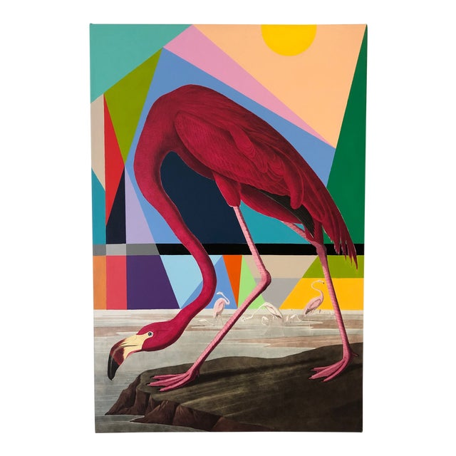 Modern Flamingo Painting by Tony Curry For Sale