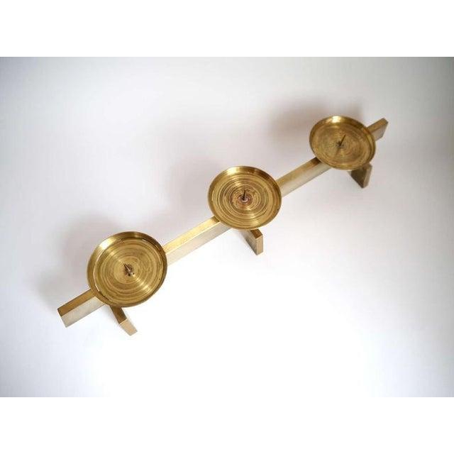 1960s Vintage Mid Century Modern Scandinavian Brass Candles Holder For Sale - Image 4 of 6