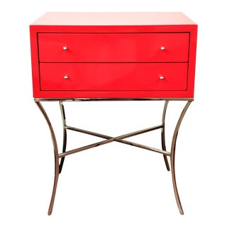 Modern Worlds Away Elena Two Drawer Red Lacquer Side Table For Sale