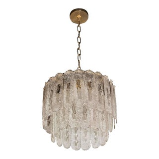 Mid-Century Modernist Two-Tier Murano Oblong Textured Glass Disc Chandelier For Sale