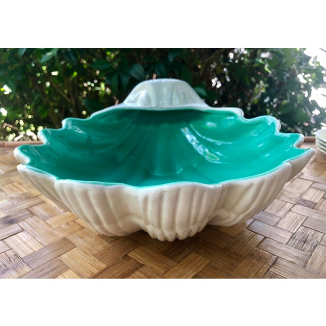 Mid 20th Century Large Portuguese Ceramic White Shell Planter Catchall Bowl For Sale - Image 5 of 11