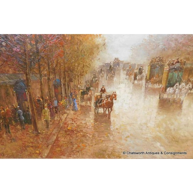 Paris Street Scene Impressionist Oil Painting For Sale - Image 9 of 11