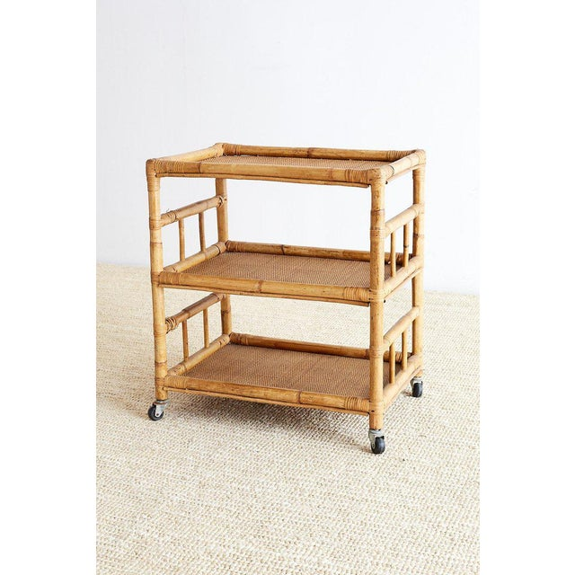 Mid 20th Century Bamboo and Raffia Rolling Three-Tier Serving Cart For Sale - Image 5 of 13