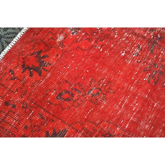Overdyed Red Turkish Area Carpet - 5′4″ × 9′3″ For Sale - Image 4 of 6