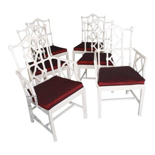 Vintage Fretwork Chinese Chippendale Dining Chairs - Set of 6