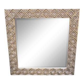 Charles Pollock Art Deco Designer White Gold Gilt-Wood Mirror For Sale