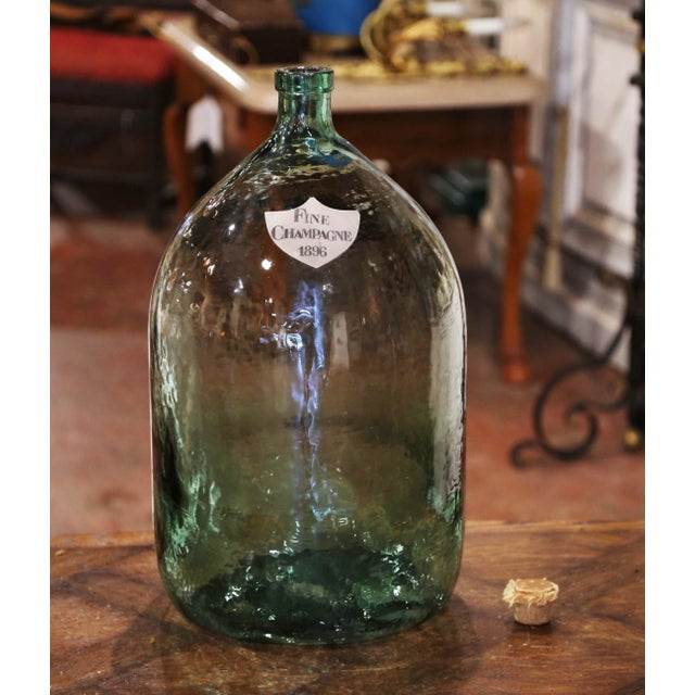 Vintage French Hand Blown Demijohn Glass Bottle With Cork Top For Sale - Image 4 of 8