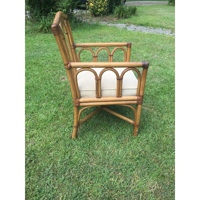 Wood Vintage Shelby Williams Rattan Armchair For Sale - Image 7 of 8
