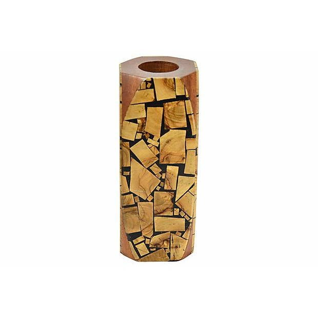 Vintage artisan made wood vase with free form mosaic wood veneer and dark resin overlay in a Brutalist geometric style...