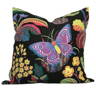 "20"" x 20"" Exotic Butterfly in Black Decorative Pillow Cover"