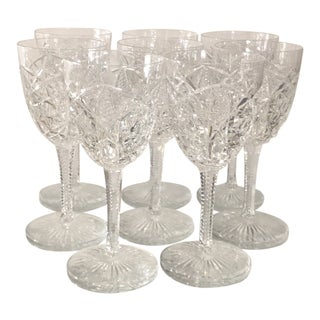 Set of 8 Signed Baccarat Cut Crystal Red Wine Stem - Lagny For Sale