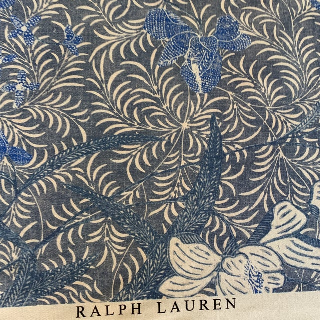 Ralph Lauren Designer Blue on Off White Ralph Lauren Printed Fabric- 1 1/4 Yards For Sale - Image 4 of 7