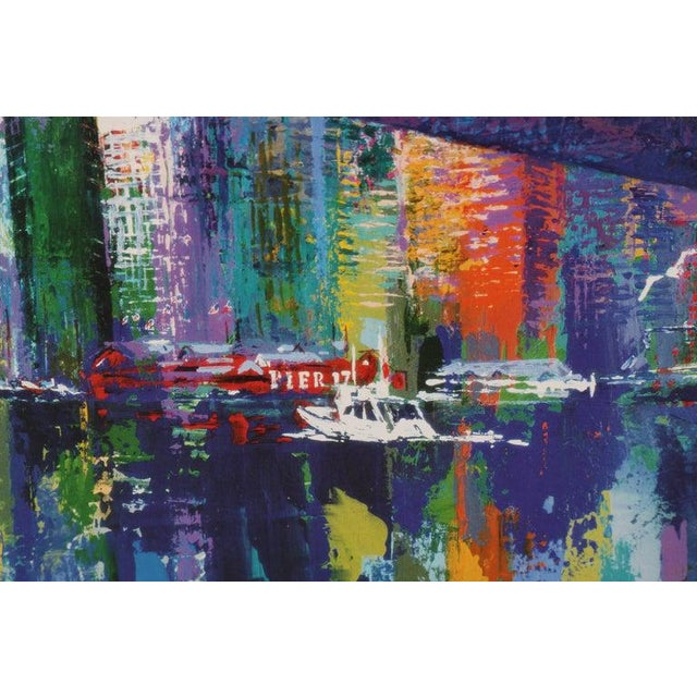 Blue 1995 Brooklyn Bridge Lithograph Ltd Ed Signed by American Artist LeRoy Neiman For Sale - Image 8 of 11