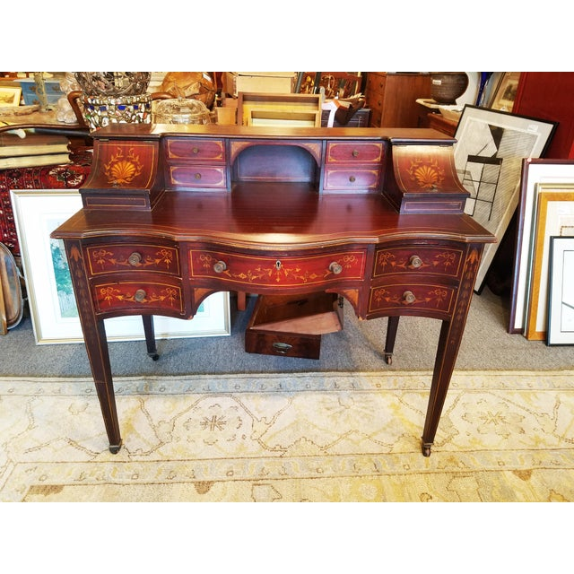 Edwardian Style Mahogany & Satinwood Ladies Desk For Sale - Image 10 of 10