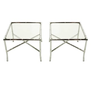 Pair of Chromed Steel Faux Bamboo X-Stretcher End Tables For Sale