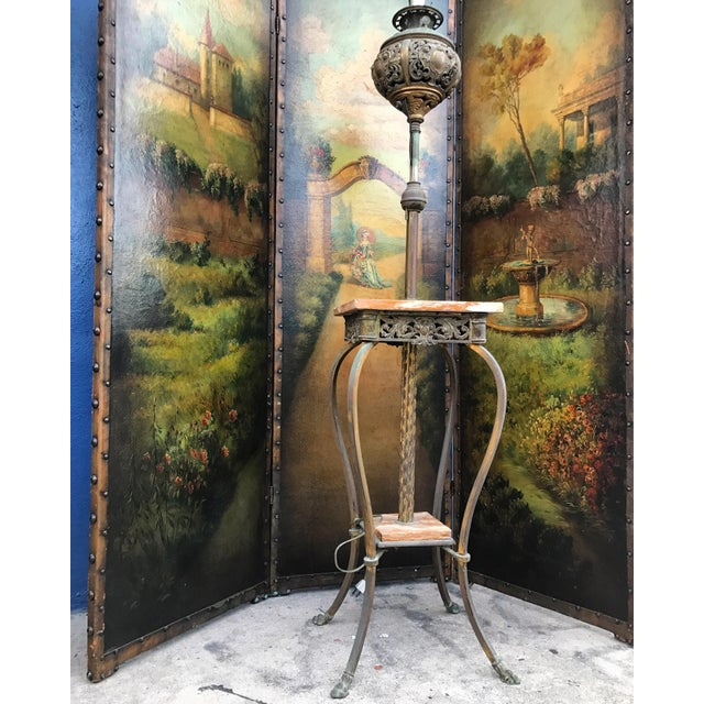 6 Ft Antique Painted Leather Screen W/ Pastural Scene For Sale - Image 5 of 10