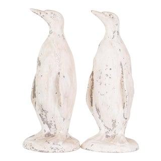 Antique Concrete Penguin Statues - a Pair For Sale