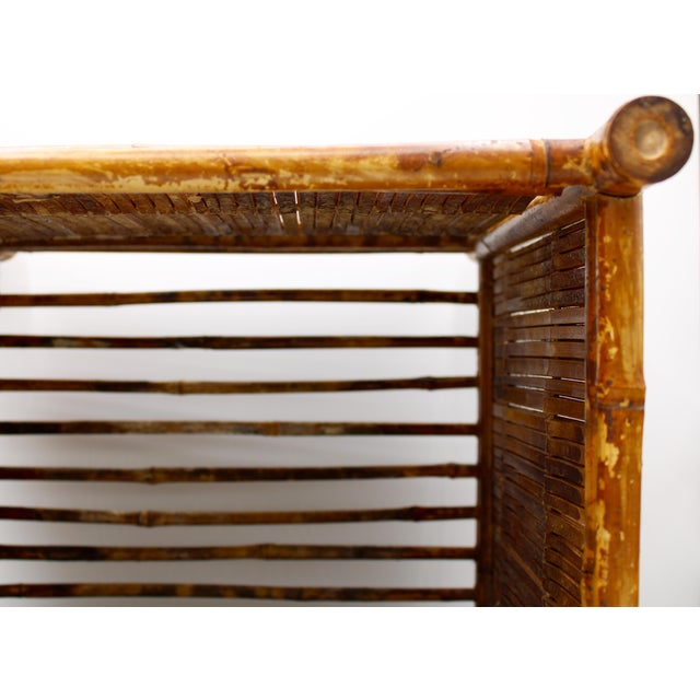 Brown 1960s Vintage Burnt Bamboo Magazine Rack For Sale - Image 8 of 12