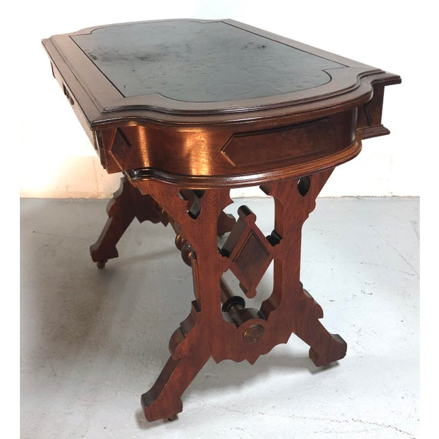 Late 19th Century Eastlake Victorian Leather Top Mahogany Hall Table For Sale - Image 5 of 13