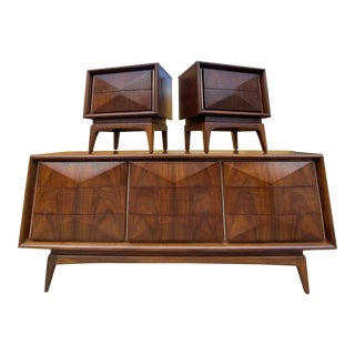 Vintage United Furniture Corporation Mid Century Diamond Dresser and Nightstands - 3 Pieces For Sale