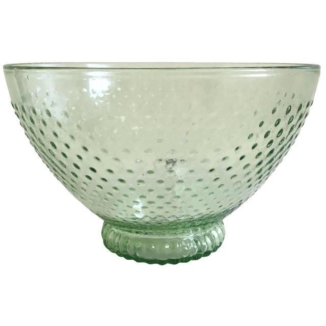 Green Depression Glass Hobnail Serving Bowl - Image 1 of 5