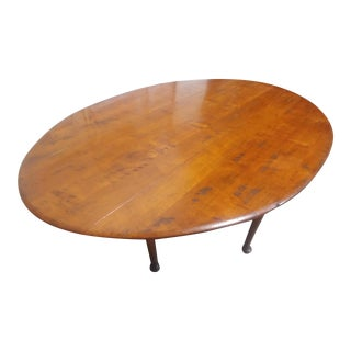 1860's Walnut Oval Drop Leaf Table For Sale
